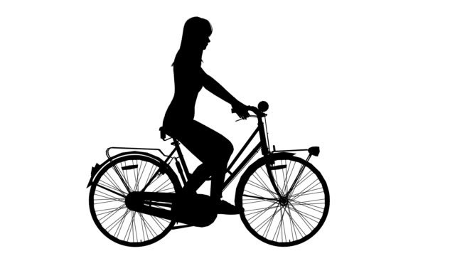 woman on cycle ride  (loopable) - plain background stock videos & royalty-free footage