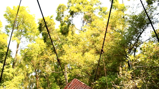Woman on hanging bridge,Thailand