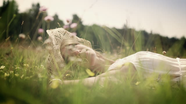 woman on meadow - sdraiato video stock e b–roll