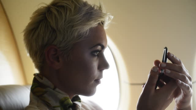 Woman on private jet