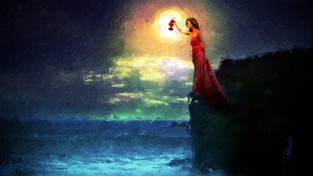 ランプ付きの岩の上の女性。アニメーションのペイント効果。 - electric lamp点の映像素材/bロール
