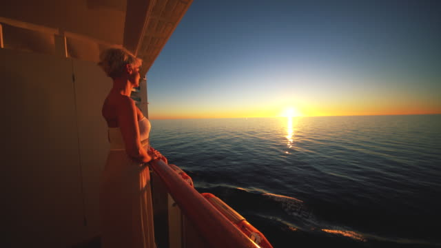 woman on the balcony of a ship - cruise stock videos and b-roll footage