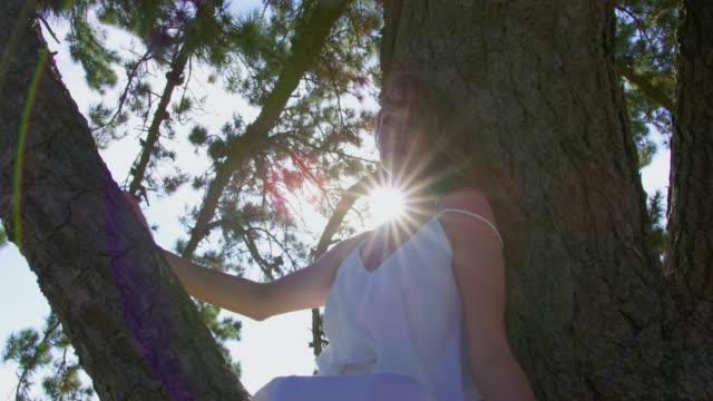 woman on tree - vestito bianco video stock e b–roll