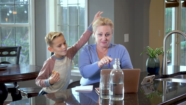 woman on video call at home, son interrupts - 8 9 years stock videos & royalty-free footage