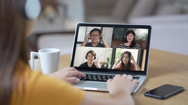 woman on video conferencing and online meeting with team, working from home - social gathering stock videos & royalty-free footage