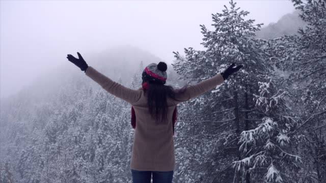 woman open arms in front of mountain - brown hair stock videos & royalty-free footage