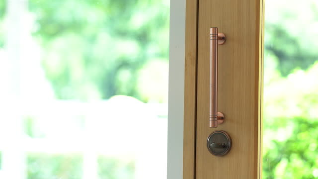 woman open the glass door and coming inside. - entering stock videos & royalty-free footage