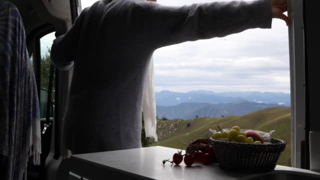 woman opens door of campervan, steps into meadow - fruit bowl stock videos & royalty-free footage