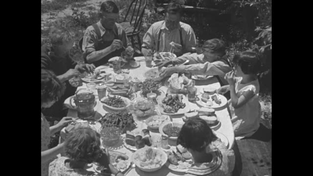 CU woman opens oven door and checks on pies and bread / Tilt down adults and children at outdoor table with a big spread of food / CU lots of...