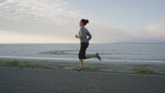Woman out for an early morning run