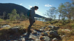 Woman outdoor adventures: winter hiking in Norway