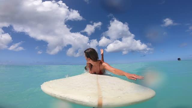 pov of woman paddling and surfing near diamond head in waikiki, oahu, hawaii. - paddel stock-videos und b-roll-filmmaterial