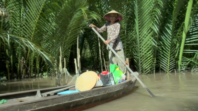 ms woman paddling canoe along a backwater channel of the mekong delta / vietnam - backwater stock videos & royalty-free footage