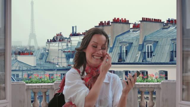 woman paris montmartre selfies cinemagraph 4k - patio stock videos & royalty-free footage