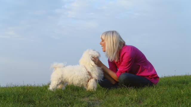 dolly hd: donna palpare il suo cane nell'erba - gambe incrociate video stock e b–roll