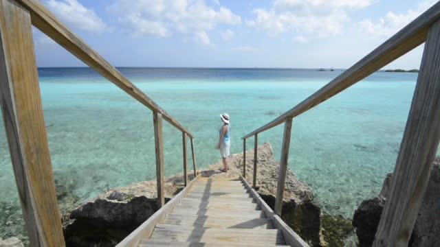 kvinna pausar för att blicka ut över lugna havet, från räcke - cinemagrafi bildbanksvideor och videomaterial från bakom kulisserna