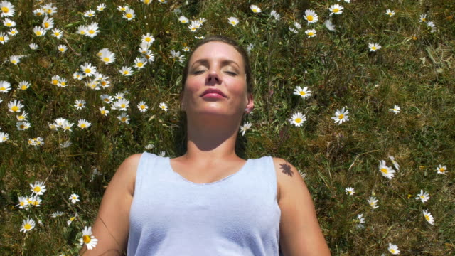 woman peacefully laying in a meadow of daisies. the flowers wave in the breeze. - sunbathing stock videos & royalty-free footage