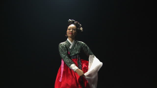 ms woman performing traditional dance 'gyobangchum' / seoul, south korea - korea stock-videos und b-roll-filmmaterial
