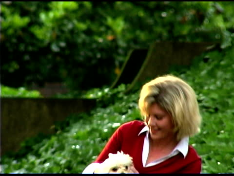 woman petting dog outdoors - one mid adult woman only stock videos & royalty-free footage