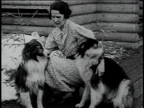 WS woman petting two dogs / Manitowish Waters Wisconsin United States