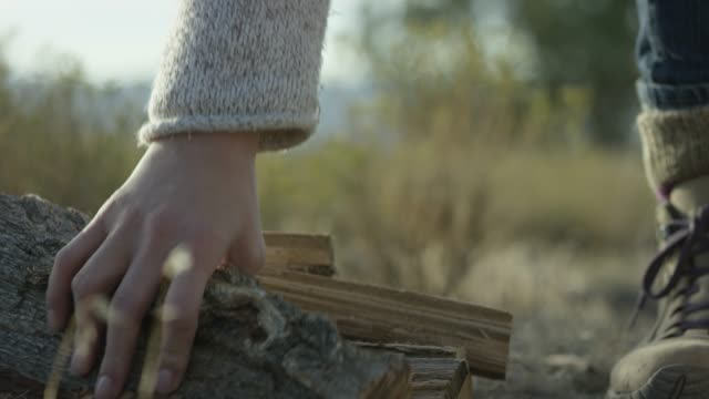 a woman picks up firewood in the desert - firewood stock videos & royalty-free footage
