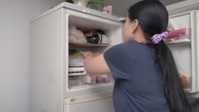 frau legt tiefkühlkost in dengefrierschrank des kühlschranks - behälter stock-videos und b-roll-filmmaterial