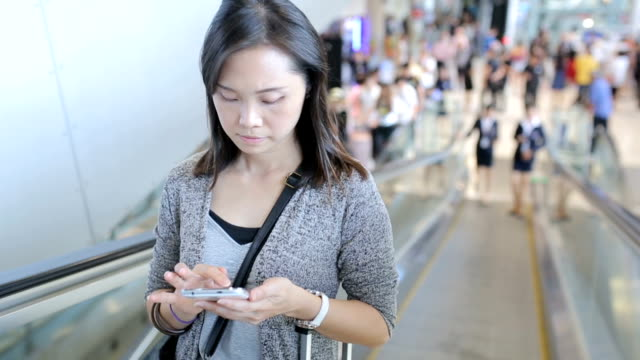 Woman play smartphone for search and chat
