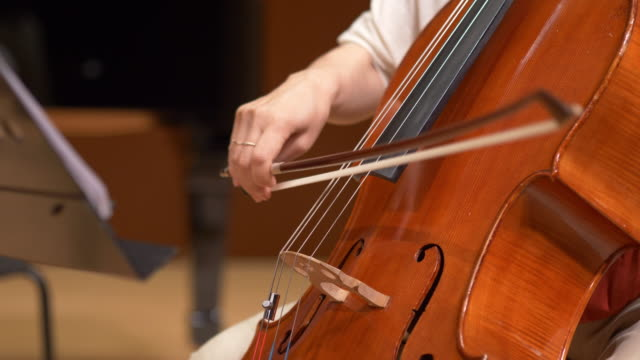 woman playing cello at classical concert - string instrument stock videos & royalty-free footage