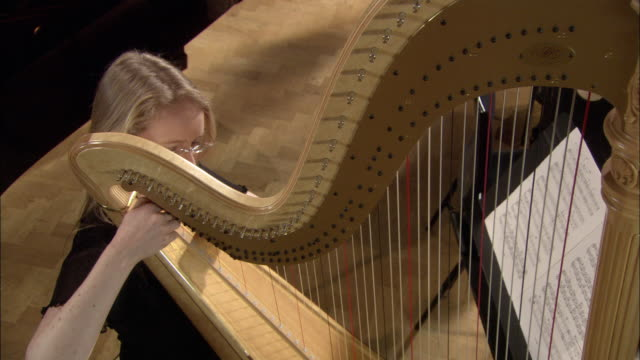 MS PAN Woman playing harp in orchestra / London, United Kingdom
