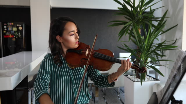 woman playing violin at home - classical style stock videos & royalty-free footage