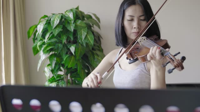 woman playing violin at home - musician stock videos & royalty-free footage
