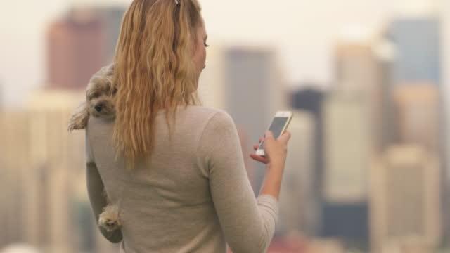 Kvinna leker med hunden i stadsparken, stadssilhuetten bakom