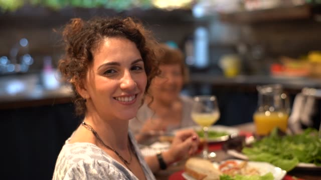 woman portrait at dinner time - meal stock videos & royalty-free footage