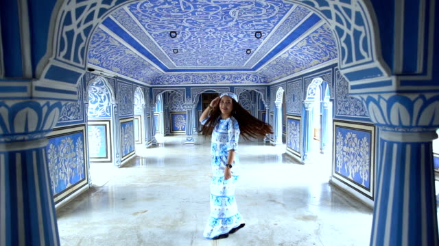 Woman posing at City Palace , Jaipur, Rajasthan, India