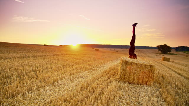 DS Woman practicing headstand position on a bale of wheat