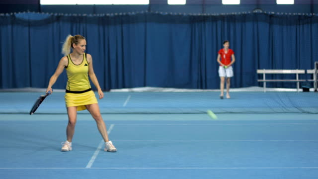 ls woman practicing the tennis shots - forehand stock videos & royalty-free footage
