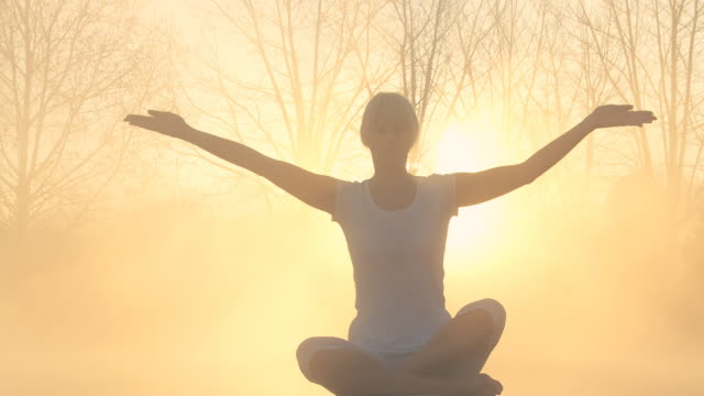 hd: woman practicing yoga in a foggy forest - prayer pose yoga stock videos & royalty-free footage