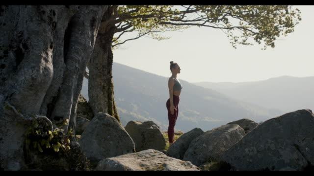 woman practicing yoga in nature - auf einem bein stock-videos und b-roll-filmmaterial