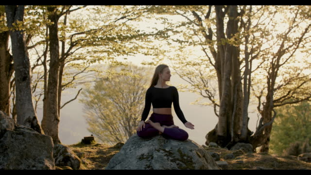 woman practicing yoga in nature - spirituality stock videos & royalty-free footage