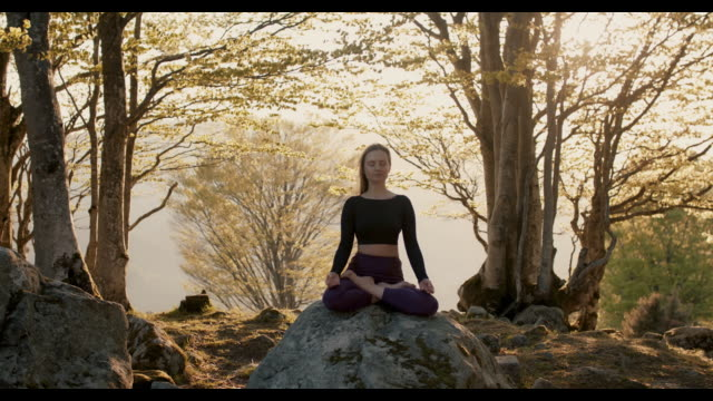 woman practicing yoga in nature - cross legged stock videos & royalty-free footage