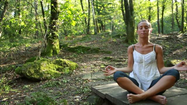 vidéos et rushes de femme pratiquant le yoga dans la nature des mouvements - sans mise au point and équilibre