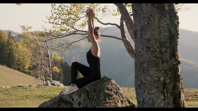 vídeos y material grabado en eventos de stock de woman practicing yoga on rock by tree in nature - preocupación por el cuerpo