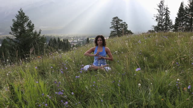 stockvideo's en b-roll-footage met woman practises yoga moves in mountain meadow - in kleermakerszit