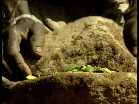 vídeos de stock e filmes b-roll de woman prepares food by crushing it between stones outside hut jan 00 - corno de áfrica