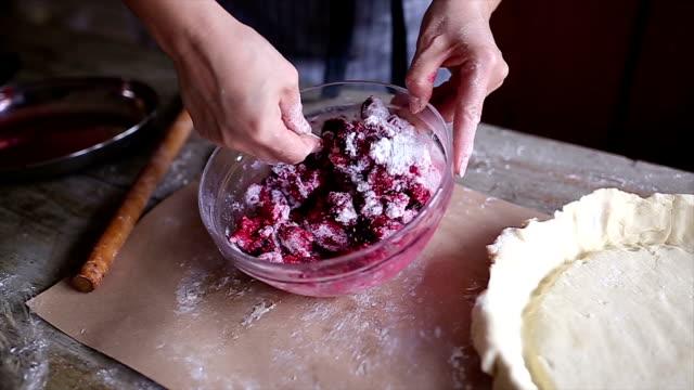 woman preparing cherry pie - thanksgiving plate stock videos & royalty-free footage