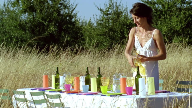 ms, woman preparing dinner table in meadow, saint ferme, gironde, france - maglietta senza maniche video stock e b–roll