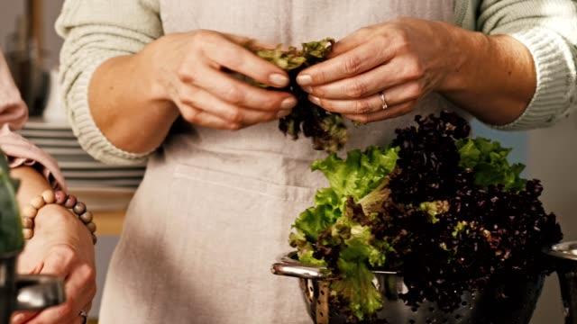 vidéos et rushes de femme, préparer la salade à la maison - salade verte