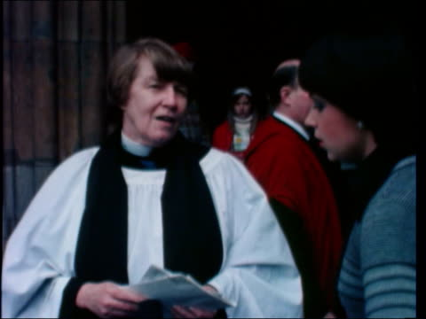 woman priests; england: london: westminster abbey: av tilt down westminster abbey: canon mary simpson in l-r to bv with another: canon mary simpson... - priest stock videos & royalty-free footage