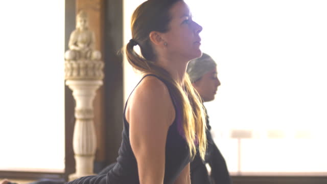 woman professional yoga instructor practicing yoga with a group of students in the class - pedal pushers stock videos & royalty-free footage