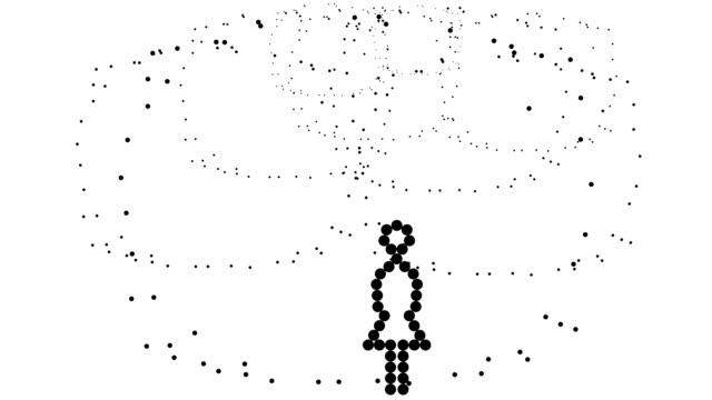 NINE UMBRELLAS - woman, pure black dots (TRANSITION)
